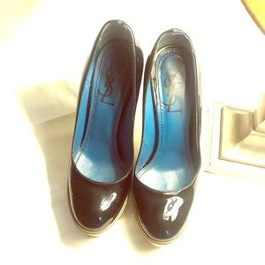 YSL platform heels patent leather